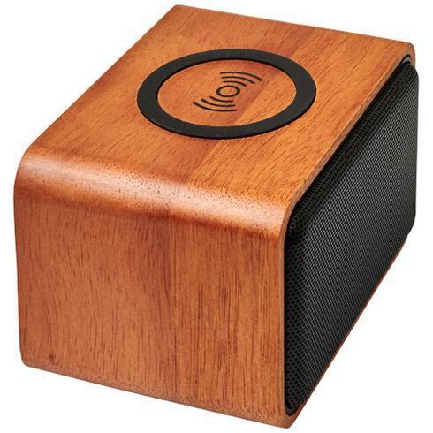 Wooden højttaler med trådløs opladningspude